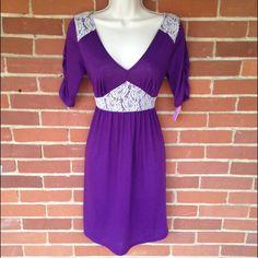 NWT Purple Ivory Lace Knee Length Dress Size S So pretty! Boutique Dresses Midi