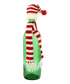 This Stripe Knit Hat & Scarf Bottle Topper by DEI is perfect! #zulilyfinds