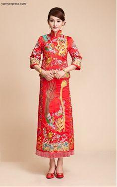 Qun Kwa Chinese Wedding Dragon & Phoenix Beading Embroidery Gown – YannyExpress