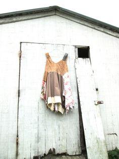 Funky Lagenlook Dress / Eco Dress / Tattered Artsy by CreoleSha, $95.00