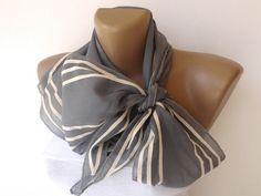 women gray stripe scarf , 2013 NEW Trend scarf , bandana, headwrap , fashion accessory , woman cotton scarves. $19.00, via Etsy.