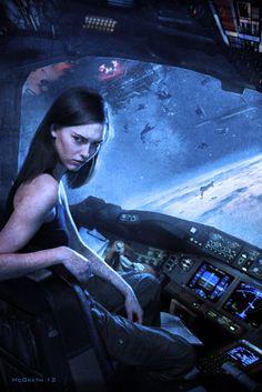 Space Girl, Vendetta by Chris McGrath [Space Future: http://futuristicnews.com/category/future-space/]