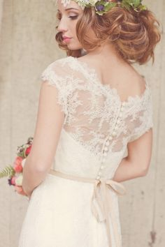 lace wedding gown.