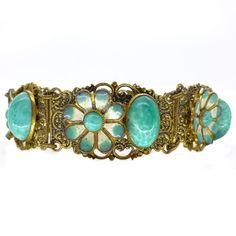 Vintage Art Deco Czech Enamel Peking Glass Flower Ornate Metal Filigree Bracelet | Clarice Jewellery | Vintage Costume Jewellery