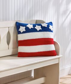 Patriotic Pillow Crochet Pattern | Red Heart Freebie, thanks so xox (nice in just pastels too)