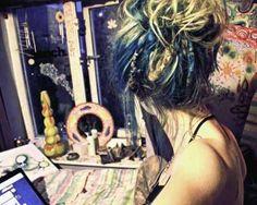Dreads blue hair gypsy