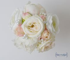 Peony Bridesmaid Bouquet, Cream, Ivory, Blush Peony and Rose, Bridesmaid Bouquet, Pearls, Wedding Flowers, Silk Flower Bouquet, Wedding Set by blueorchidcreations on Etsy