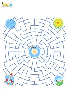 Maze game or activity page for kids Help the spaceship to fly to the Moon and then return to the Earth Answer included , Space Activities For Kids, Mazes For Kids, Educational Games For Kids, Printable Activities For Kids, Preschool Worksheets, Book Activities, Preschool Activities, Kids Learning, Maternelle Grande Section