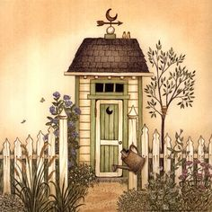 Cottage Outhouse I Fine-Art Print by Linda Spivey at FulcrumGallery.com