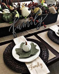 Fall Table Setting... Fall Table Settings, Thanksgiving Table Settings, Thanksgiving Tablescapes, Thanksgiving Decorations, Thanksgiving Food, Place Settings, Harvest Decorations, Seasonal Decor, Table Decorations