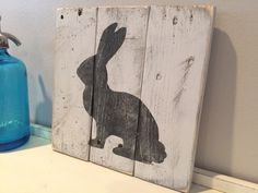 A personal favorite from my Etsy shop https://www.etsy.com/listing/262768648/rustic-bunny-white-wall-art-hanging-door