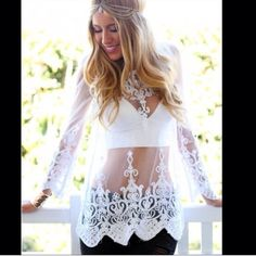 ✨White, Crochet, Sheer, Lace Blouse✨ Brand new & extremely cute top!!!! Bought it from another posher, just never got around to wearing it. White all over & see thru. Mesh. Can be worn as the perfect summer top or as an adorable swimsuit beach coverup! No tags. Size large. Could fit a size medium too. Very elegant! ✨✨ Tops Blouses