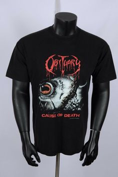 fa4826862 Vintage OBITUARY 1994 CAUSE OF DEATH t shirt XL. Men s ClothingDeathManish  ...