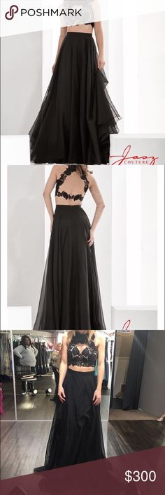 Black Chiffon Two Piece Prom Dress beautiful and comfortable dress!! very flattering on. changed my mind on and it and really want my money back!! never worn, brand new!! size 0 but could fit a 00-2. price includes the shipping. Dresses Prom