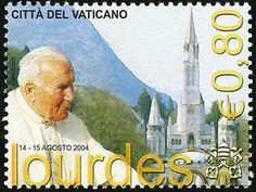 Pope John Paul II Trip to Lourdes, France single Vatican postage stamp St Bernadette Soubirous, Pope Pius Ix, Lourdes France, Juan Pablo Ii, Our Lady Of Lourdes, Pope John Paul Ii, Catholic Saints, Vatican City, City State