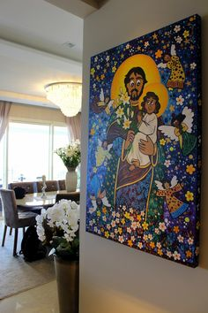 Andreza Katsani Artes . São José e o menino Jesus Painting, Saint George, Religious Art, Frames, Toddler Girls, Painting Art, Paintings, Painted Canvas, Drawings