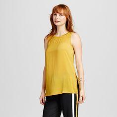 Women's Rib Trim Tunic Tank Yellow XL - Who What Wear
