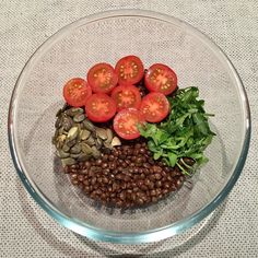 LUNCH LENTILS BOWL  Rocket salad leaves  tomatoes  pumpkin seeds  Health…