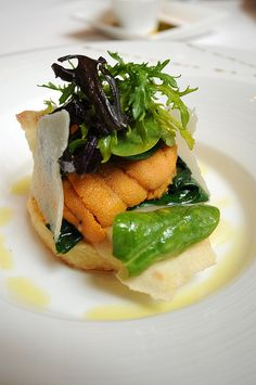 """LE RIZ en galette, epinard et chaud froid et douce langues d'oursins  a parmigiano & taleggio risotto """"galette"""" with wilted spinach and (very sweet) tongues of sea urchin by sunday driver, via Flickr"""