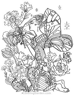 Free printable Art Nouveau mermaid adult coloring page