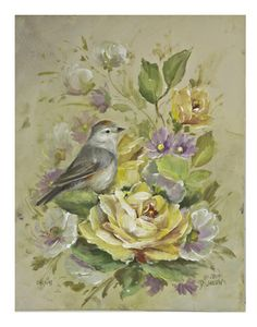 Lucy's Warbler. Learn to paint roses and birds by instantly downloading the video and pattern.