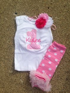 Pink polka dot birthday outfit  1st birthday shirt by CEBowtique