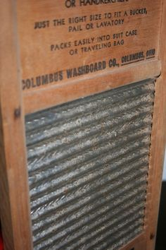 #Vintage wash board. Note that it says you can travel with it. Can you imagine?