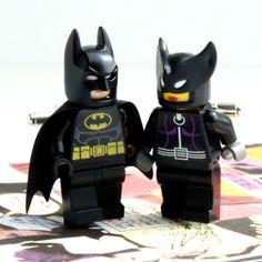 cbdef4077a4a Batman and Catwoman Cufflinks - Flirtatious Superhero Fun for Men