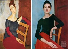 The Reinterpretation: Modigliani - Erin O'Connor photographed by Patrick DeMarchelier for Harper's Bazaar, February 2002.