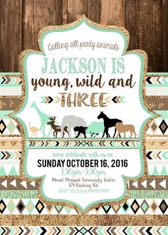 These Mint, Brown and Gold Young Wild and Three 3rd Birthday Invitations are EVERYTHING you need to make your little one's 3rd Birthday Party amazing!   >>>HEADS UP: THIS LISTING IS FOR A DIGITAL DOWNLOAD FILE. YOU SEND US THE DETAILS, and well customize your order and send you a digital file with your personalized invitation and then you can print as many as you like! Woo hoo! <<<  ----------------------- ♥••♥ T U R N A R O U N D • T I M E ♥••♥ -----------------------  2 BUSINESS days ►►I…