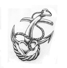 Heart Anchor Rope Tattoo: but emphasize a cross too. Hope faith and love