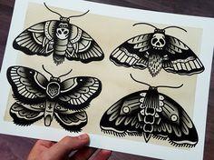 ORIGINAL · Moths · Traditional Tattoo Flash