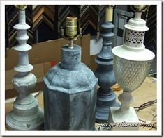 brass lamps resurrected with Chalk Paint™ at Hodgepodge