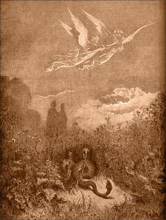 Purgatory: Angels putting the serpent to flight in the Valley of the Rulers. Creator: Doré, Gustave Date: c.1868
