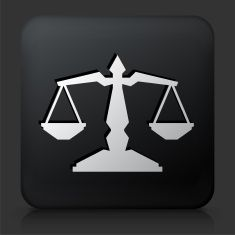 Black Square Button with Justice Balance Icon vector art illustration