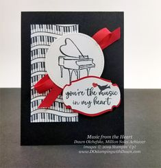 03 17 Music from the Heart samples by Dawn Olchefske, Stampin' Up! Million Sales Achiever - coming Jan 2020 Stampin Up Karten, Stampin Up Cards, Musical Cards, Alphabet Stamps, Up Music, Stampin Up Catalog, Heart Cards, Stamping Up, Making Ideas