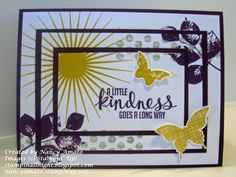 """Stampin' All Night    Nancy Amato Triple Time Stamping with """"Kinda Eclectic"""" stamp set Blackberry Bliss, Hello Honey, Sahara Sand"""