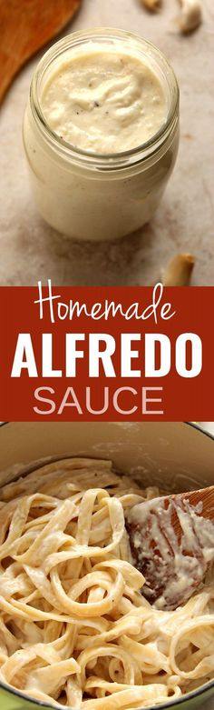 Homemade Alfredo Sauce recipe - the best garlic Parmesan pasta sauce I've ever made! Just a few simple ingredients is all you need to make…