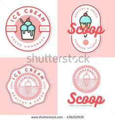 Set of logo, badges, banners, emblem and elements for ice cream shop. Vector illustration - Buy this stock vector and explore similar vectors at Adobe Stock Cupcake Logo, Ice Cream Logo, Tea Logo, Bakery Logo, Logo Food, Shop Logo, Badges, Business Logo, Graphic Design Inspiration