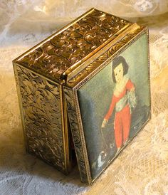 Trinket Box Hinged Victorian Boy and Baby Cats Velvet Lined
