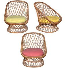 Jean Royere Documented Genuine Riviera Rattan Chairs From The 50s
