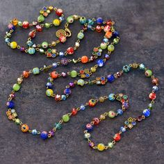 Long Millefiori Glass Beads Necklace, Millefiori Necklace, Beaded Necklace, Layering Necklace N464 Coin Pendant Necklace, Long Chain Necklace, Necklace Lengths, Layered Necklace, Copper Necklace, Necklace Set, Crystal Beads, Glass Beads, Diamond Solitaire Necklace