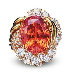http://rubies.work/0193-ruby-rings/ Padparadscha Sapphire and Diamond ring - 20.84 ct oval-cut padparadsha - $375,120 at auction