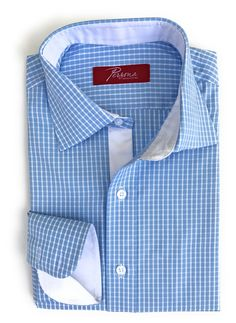 Persona Premium Dress Shirt Light blue check with white accents