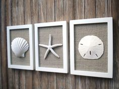 Cottage Chic Set of Beach Wall Art, Nautical Decor, Beach House Wall Decor, Sea Shell Art, Beach Decor, Coastal Art, PURE WHITE, Grey Burlap #DIYHomeDecorBeach