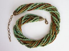 Turquoise Twist Multi-strand Seed Bead by DragonflyBlueJewelry