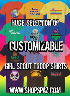 Tons of Girl Scout shirt designs - can be customized with your troop number, level, city & state. High quality prints on so many colors and shirt styles, hoodies, and more! Like us on facebook for coupon codes! #girlscouts #troopshirts