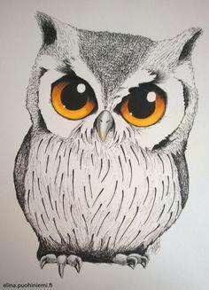 Exploring Color on Paper – Day 3 Owl Tattoo Drawings, Bird Drawings, Cool Art Drawings, Art Drawings Sketches, Animal Drawings, Owl Art, Bird Art, Cute Owl Drawing, Cute Owls Wallpaper