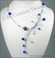 royal blue hematite clear glass necklace swirls by creationtwinne, $45.00