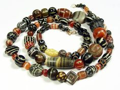 An incredible strand of Pyu culture decorated beads, from Thailand, circa 2nd to 9th century AD.